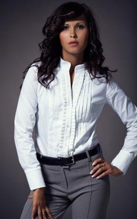 Koszula z zakładkami - biała