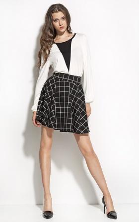 Spódnica w modnym wzorze z koła - czarny/kratka