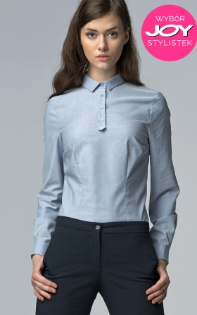 Modna koszula z długim rękawem - błękit