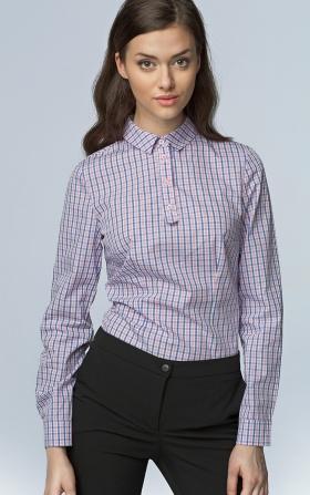 Modna koszula z długim rękawem - róż/kratka