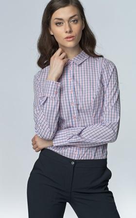 Klasyczna taliowana koszula - róż/kratka
