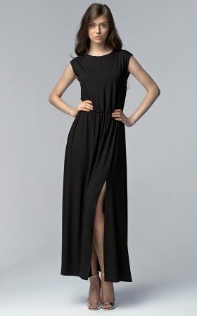 Sukienka MAXI z rozcięciem - czarny