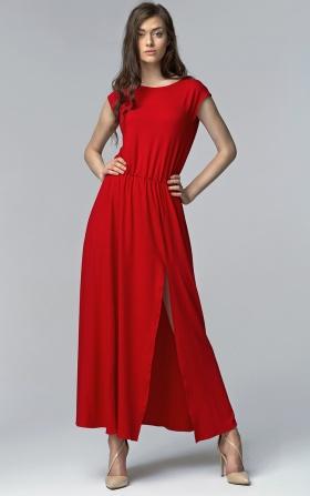 Sukienka MAXI z rozcięciem - czerwony