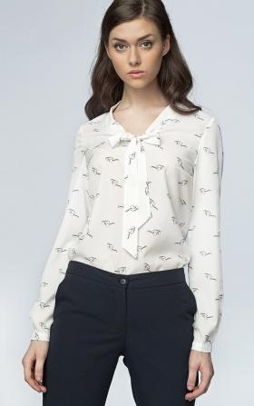 Delikatna bluzka z wiązaniem na dekolcie - okulary/ecru