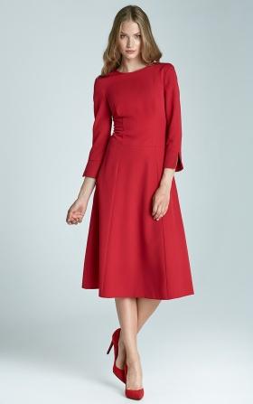 Sukienka trapezowa Midi - czerwony