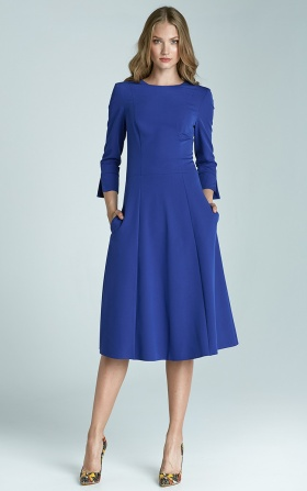 Sukienka trapezowa Midi - niebieski