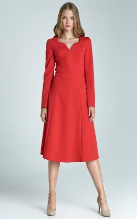 Klasyczna sukienka z długim rękawem - czerwony