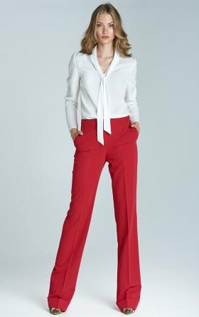 Spodnie bootcut z mankietem - czerwony
