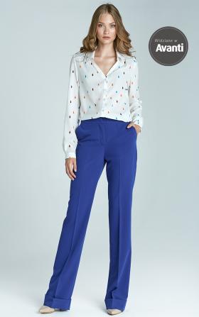 Spodnie bootcut z mankietem - niebieski