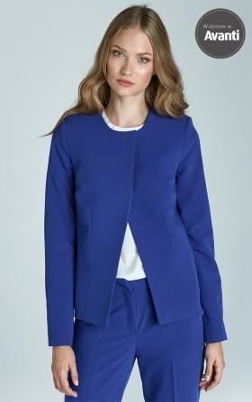 Krótki asymetryczny żakiet - niebieski