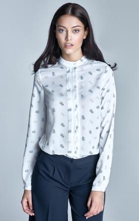 Bluzka z plisami na dekolcie - ecru/beż