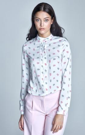 Bluzka z plisami na dekolcie - ecru/róż