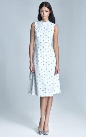 Elegancka sukienka MIDI - ecru/beż