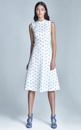 Elegancka sukienka MIDI - ecru/róż