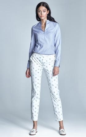 Eleganckie spodnie z oryginalnym zapięciem - ecru/beż