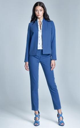 Eleganckie spodnie z oryginalnym zapięciem - niebieski