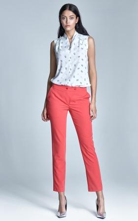 Eleganckie spodnie z oryginalnym zapięciem - koral