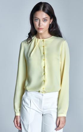 Zapinana bluzka z marszczeniem na dekolcie - żółty