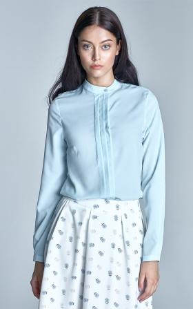 Bluzka z zakładkami - błękit