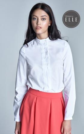 Koszula ze stójką i zakładkami - biały