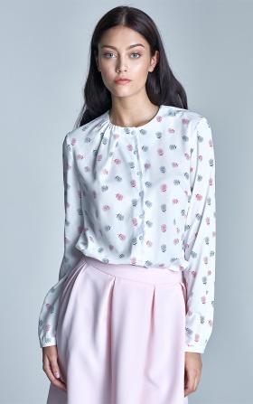 Zapinana bluzka z marszczeniem na dekolcie - ecru/róż