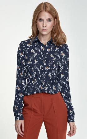 Delikatna bluzka - kwiaty/granat