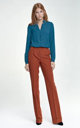 Spodnie z mankietem - rudy