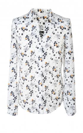 Bluzka z wycięciami - kwiaty/ecru