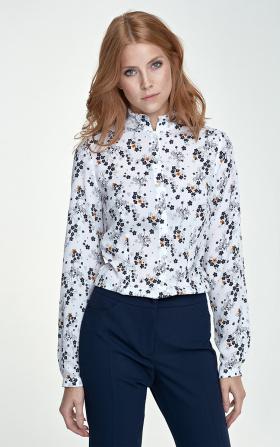 Bluzka ze stójką - kwiaty/ecru