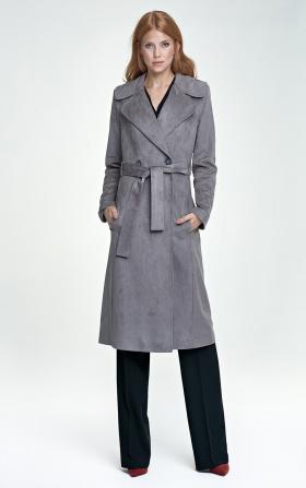 Długi płaszcz - szary