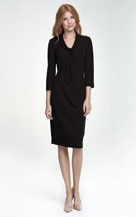 Sukienka z wiązaniem na dekolcie - czarny