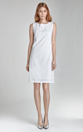 Sukienka z rozcięciem na dekolcie - bez rękawa - ecru