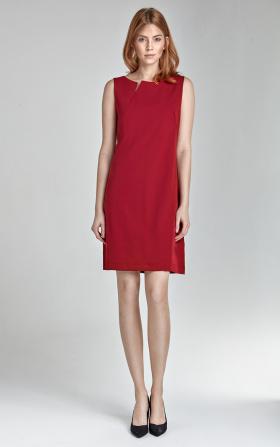 Sukienka z rozcięciem na dekolcie - bez rękawa - czerwony