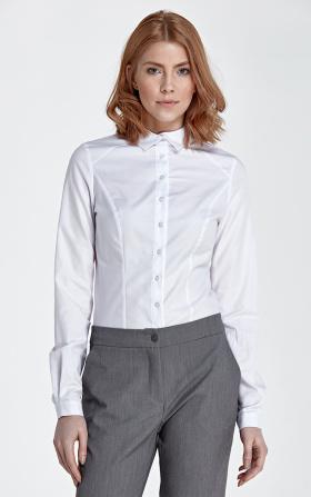 Koszula z asymetrycznym kołnierzykiem - biały