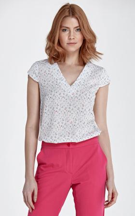 Bluzka z modnym dekoltem w kształcie litery V - łączka