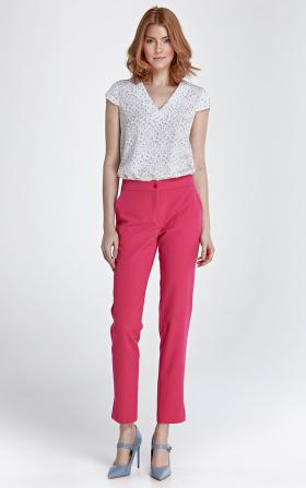 Eleganckie spodnie z rozcięciem - fuksja