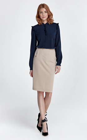 Zwężana spódnica z kieszeniami - beż