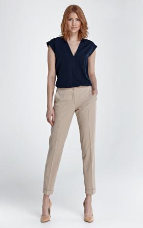 Spodnie z mankietami - beż