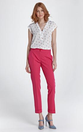 Spodnie z mankietami - fuksja