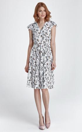 Delikatna letnia sukienka - kwiaty/ecru