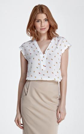 Bluzka z dekoltem w kształcie litery V bez rękawa - liście