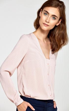 Bluzka z pionową lamówką i guziczkami- róż/kropki