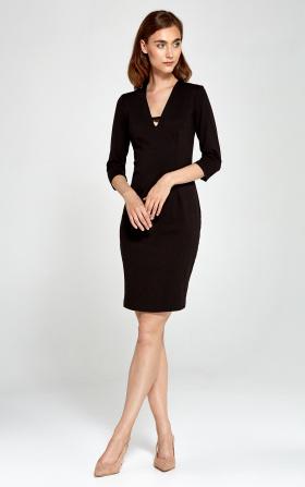 Dzianinowa sukienka z dekoltem V- czarny