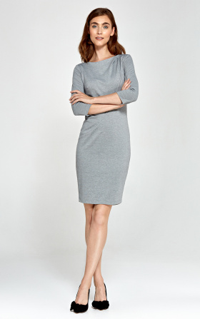 Sukienka z asymetrycznymi draperiami - szary