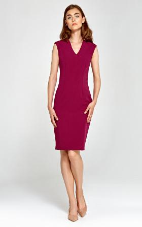 Dopasowana sukienka z dekoltem V - bordo