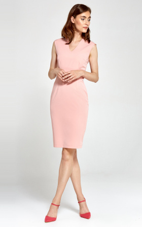 Dopasowana sukienka z dekoltem V - różowy