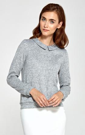 Sweter z kołnierzykiem - szary