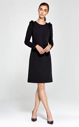 Sukienka z falbankami na ramionach - czarny
