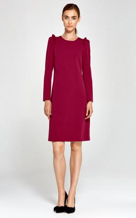 Sukienka z falbankami na ramionach - bordo
