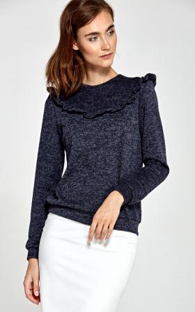 Sweter z falbankami- granat